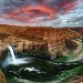 A colorful Pano Sunset at Palouse Falls Washington in the PNW.