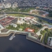 Aerial view of Peter and Paul Fortress on Zayachy Island, Saint Petersburg, Russia.