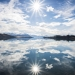 Perfect Sun star reflection at Lake Tekapo, New Zealand