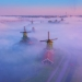 Magic morning in the Netherlands with windmills rising from the fog.
